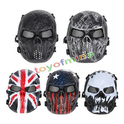Airsoft Paintball Tactical Full Face Protection Skull Mask CS Army War BB Game