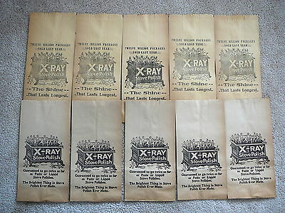 X-RAY STOVE POLISH - IMPS DANCING on STOVE - LOT 10  PAPER BAG SACK c.1900 NOS
