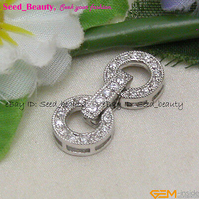 White Gold Plated Crystal Inlayed Jewelry Clasp gp0389
