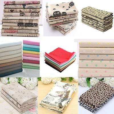 DIY Sewing Craft Remnants Vintage Europe Style Natural Cotton Linen Fabric Cloth