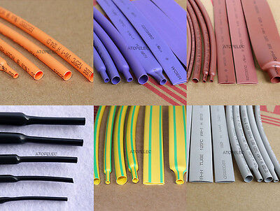 1M/5M Orange/Purple/Brown/Gray Heat Shrink Tubing 2:1 Polyolefin 1-40mm ROHS UL