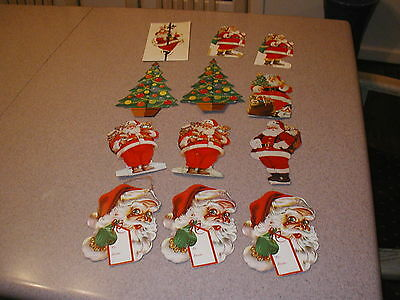 12 VTG Christmas Club Bank Holiday Die Cut Outs LGE Gift Tags Santa Claus Tree