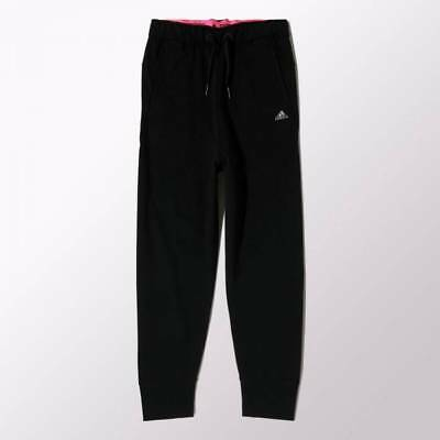 adidas Girl's Knitted Yoga Cuffed Pants Track Sport Lounge Casual Black & Pink