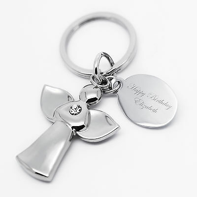 Personalised Guardian Angel Key Ring with Crystal, Engraved Fob Birthday Gift