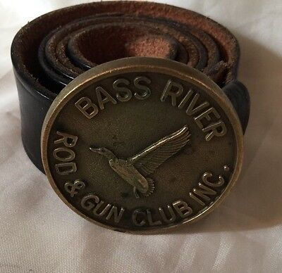 Rare Vintage Bass River Rod & Gun Club Cape Cod Brass Belt Buckle And Belt SZ 38