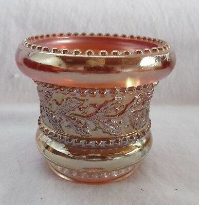 Vintage Holly And Berry Beaded Edge Marigold Carnival Glass Toothpick Holder
