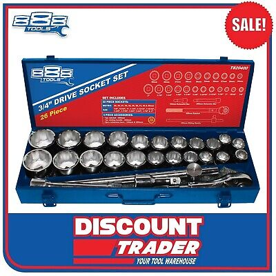 "888 Tools 27 Piece 3/4"" Drive Socket Set Metric / Imperial - T820400"