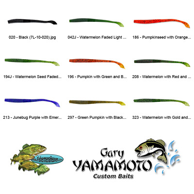Yamamoto Worm 7X-10-196 Pumpkin Green Black Flake 6.5 In Kut Tail Plastic Lures