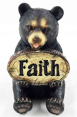 Whimsical Cute Black Bear Holding Faith Sign Plaque Small Figurine Nature
