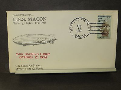USS MACON ZRS-5 Naval Cover 1984 24th FLIGHT Cachet AIRSHIP