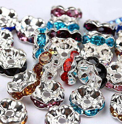 50/100Pcs Silver Plated Charm Czech Crystal Spacer Rondelle Beads Findings 8mm