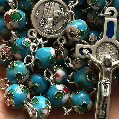 BLUE CLOISONNE ROSE BEADS ROSARY St.Benedict CROSS CRUCIFIX CATHOLIC NECKLACE