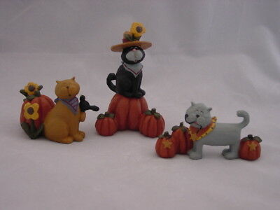 Kitty Cat in Pumpkin Patch ~ Figurines Blossom Bucket 106-81971 3pc set NEW