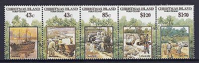 1991 Christmas Island Mining Lease Centenary Strip Of 5 Fine Mint Mnh/muh