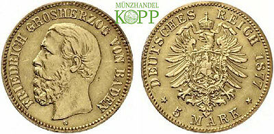 M849) J.185 BADEN 5 Mark 1877 G Friedrich I 1852-1907 Gold