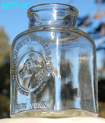 LARGE antique HUMPHREYS' Stable Jar VETERINARY bottle pic/ HORSE rare WIDE MOUTH