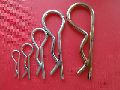 BZP Plated R Clip. Cotter pins spring clips. 2mm 3mm 4mm 5mm & 6mm Qty 1-100