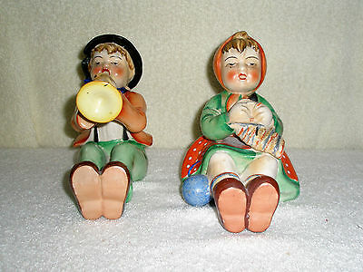 Vintage Set 2 Figurines Peasant Boy Girl Play Instruments Sitting Made in Japan