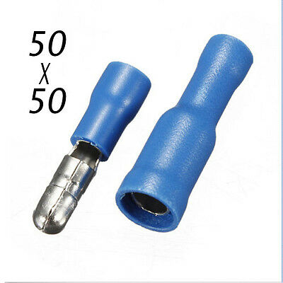 100x  Male & Female Blue Insulated Bullet Connector Terminals 16-14AWG Wire