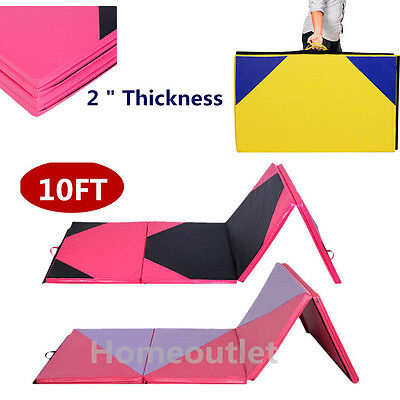 Four Folding Gymnastics Mats Thick Exercise Gym Fitness Physio Pilates 10FT HT