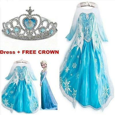 FROZEN ELSA ANNA PRINCESS DRESS KIDS COSTUME PARTY FANCY SNOW QUEEN DRESS-Crown