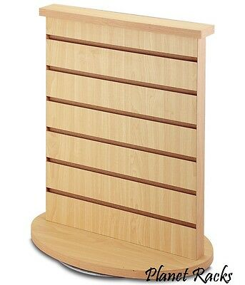 Planet Racks Rotating Double Sided Slatwall Counter Display Fixture - Maple