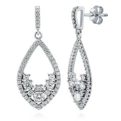BERRICLE Sterling Silver Cubic Zirconia CZ Teardrop Wedding Dangle Drop Earrings