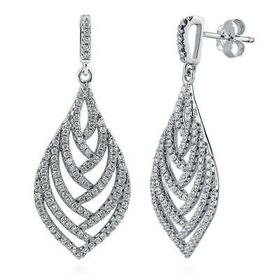 BERRICLE Sterling Silver Cubic Zirconia CZ Leaf Wedding Dangle Drop Earrings