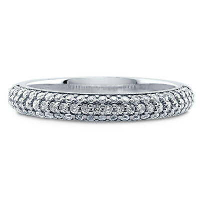 BERRICLE Sterling Silver Round CZ Half Eternity Band Ring 0.345 Carat