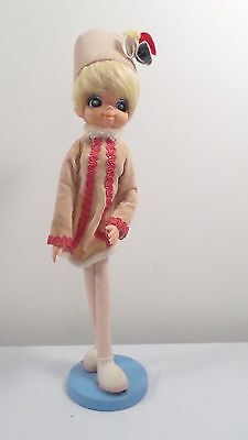"""Vintage Dai Japan 16 1/2"""" Cloth over Wire Bendable 1960's Doll on Stand"""