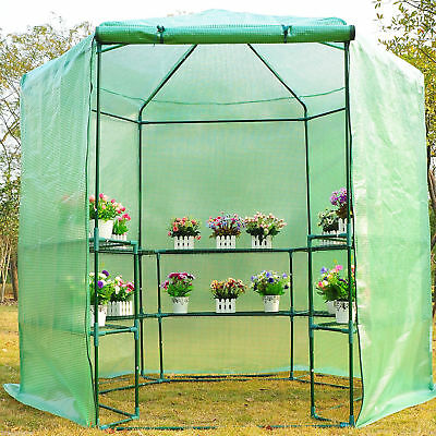 7.4ft Hexagonal Large Portable Greenhouse Walk-In Green House Garden Plant Shed