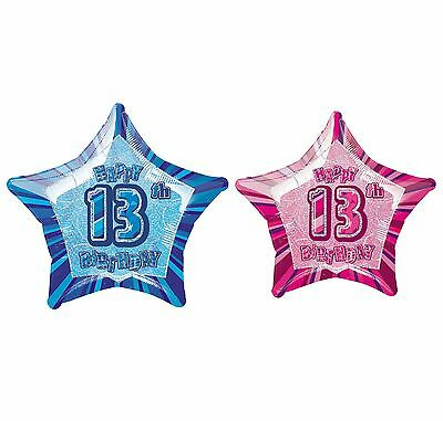 "Foil Helium Balloon Ages 1st-18th Happy Birthday Party Balloons, 18"" Pink & Blue"