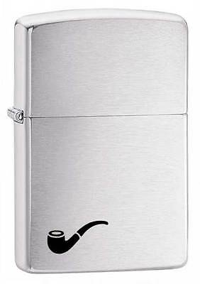 Personalised Brushed Chrome Zippo Pipe Lighter, Any Message Engraved Gift