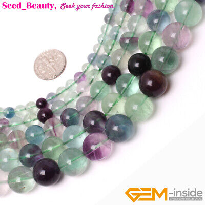 """Natural Round Fluorite Gemstone Loose Beads Strand 15"""" Smooth Rainbow Color"""