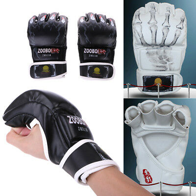 MMA UFC Leather Gloves Sparring Grappling Fight Boxing Punch Ultimate Mitts