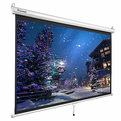 "Instahibit™ 72"" 16:9 Home Movie Manual Projection Screen Pull Down Projector New"