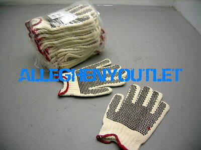 12 Pair Ladies Poly/Cotton Garden Work Gloves Dotted Palms & Knit Cuff Small Med