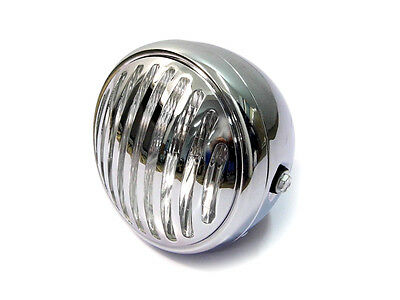CHROME Prison Grill H4 55W 12V Headlight Head Lamp Motorcycle Bobber Cafe Racer