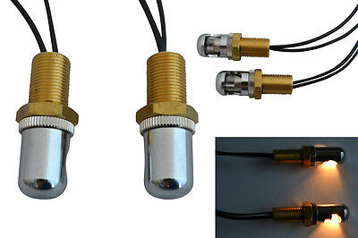 Pair of Bright Number & License Plate Lights for Retro Custom Chopper Motorbikes