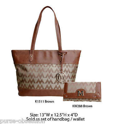 Women's Brown Designer Tote Bag w Clutch Purse - Handbag Wallet Set
