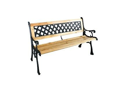 Traditional Garden Bench Rustic Patio Porch Bench Park Bench (Cast Iron & Wood)