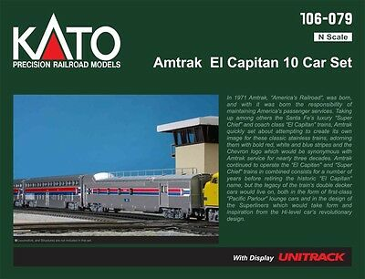 Kato 106-079 N Scale Amtrak El Capitan 10 Car Passenger Set w Display UNITRACK