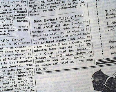 AMELIA EARHART Pacific Missing Aviator Officially Declared DEAD 1939 Newspaper