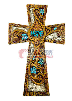 Hope Turquoise Floral Decorative Wall Hanging Cross Wood Look Scrolls 12 3/4 in