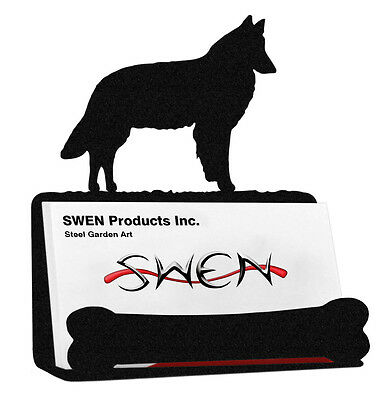 Belgian Sheepdog Dog Black Metal Business Card Holder