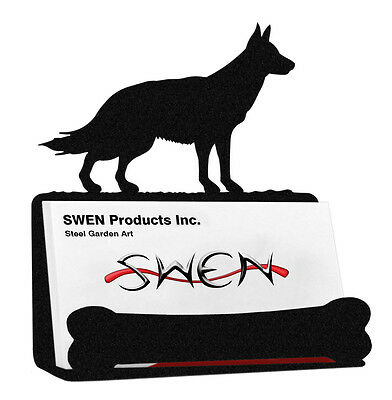German Shepherd Dog Black Metal Business Card Holder