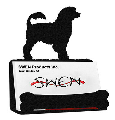 Portuguese Water Dog Black Metal Business Card Holder