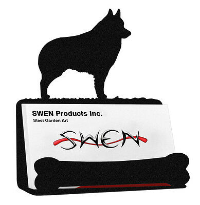 Schipperke Dog Black Metal Business Card Holder