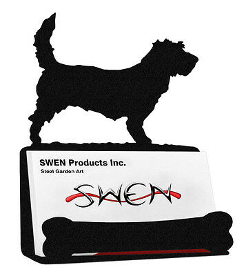PBGV Petit Basset Griffon Vendeen Dog Black Metal Business Card Holder