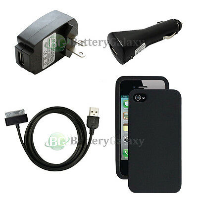 Black Wall Adapter+Car Charger+USB Cable+Black Gel Case for Apple iPhone 4 4S 4G